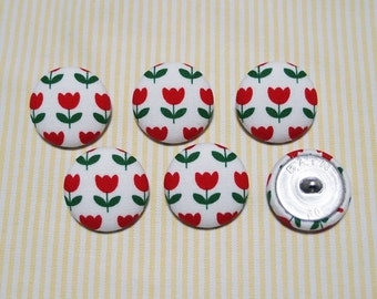 6 Yellow Tulip Fabric Covered Buttons 20mm