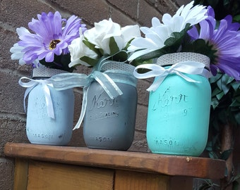 Shabby mason jars decor