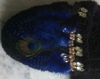 Slippers women, with Rhinestones and blue peacock feathers
