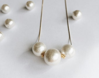 white cotton pearl necklace