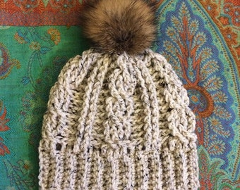 Cabled Crochet Beanie with Faux Fur Pom Pom