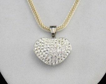 Sterling Silver Rhinestone Necklace, Rhinestone Heart Necklace, Summer Necklace, Sweetheart Necklace        J987