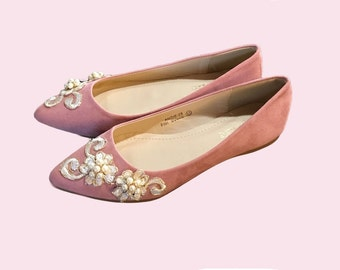 French Knot Lace Pearl Bridal / Bridesmaid / Dress Ballet Flats Wedding Shoes