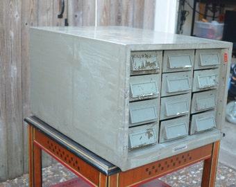 Addressograph 12-Drawer Metal Card File Cabinet - PRICE REDUCED !!!