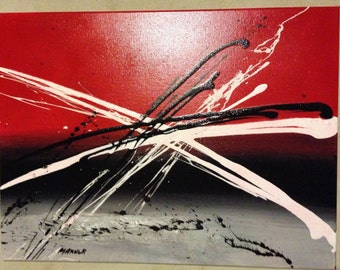 Abstract acrylic paint canvas - Red sky