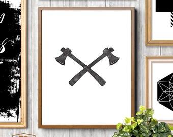 Boys room wall art huntsman printable axe prints woodsman print lumberjack wall art rustic decor letterpress style black and white poster