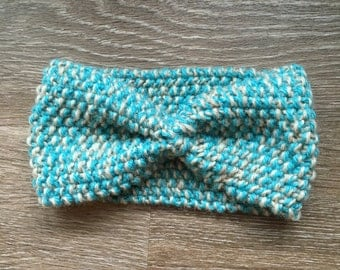 Wool Knit Headband, Turquoise and Oatmeal, 100% Wool