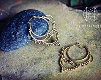 Gypsy Queen Earrings, Sacred Geometry, Brass Jewelry, Tribal Earrings, Indian Jewelry, Ethnic Jewelry, Bohemian Jewelry, Yoga Jewelry