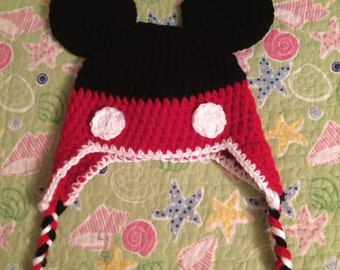 Mickey Mouse inspired earflap beanie