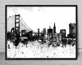 San Francisco City Watercolor Skyline Wall Art Print - San Francisco Watercolor Art - Abstract Watercolor Painting -x84