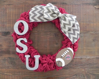 Ohio State Football Wreath, The Ohio State University Wreath, OSU Football Wreath, Buckeye Football Wreath, Bucks Wreath, Scarlet and Gray