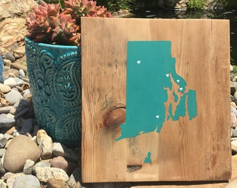 State Sign, Hometown Sign, Custom State Sign, State Decor, Rhode Island Sign
