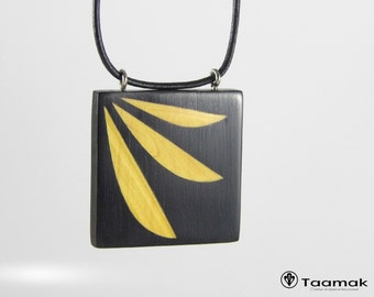 Necklace pendant ebony, Difou-collar inlays for woman-wood precious-made hand-Piece unique - Taamak
