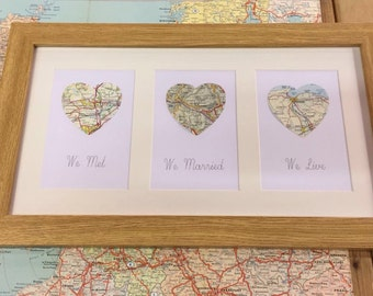 We met. We live. We married- Triple map heart custom made frame- Wedding gift- Anniversary gift- Engagement gift