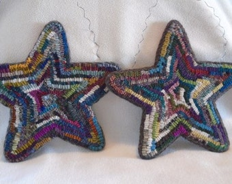 Custom Made Rug-Hooked Stars with Wire Hanger in Hit or Miss Style