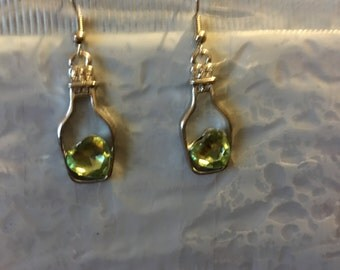 Wine Bottle Earrings with Rhinestone Accents at Bottle Neck   G20