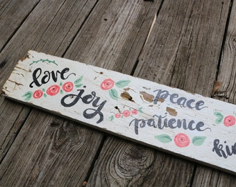 "Rustic ""Fruit of the Spirit"" Sign"