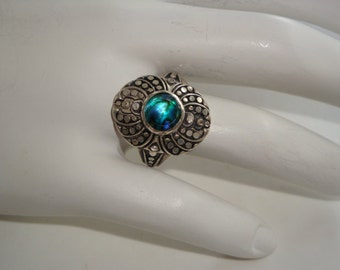 Vintage Mexican Sterling Silver and Abalone Ring