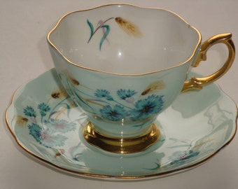 Royal Albert Delphine Flowers and Pale Blue Tea Cup and Saucer