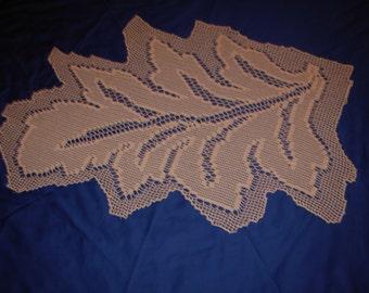 CROCHET DOILY LEAF, handmade crochet doily