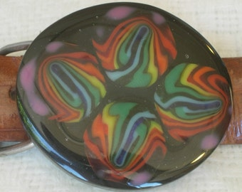 "Fused Glass Belt Buckle, ""Yes I Am"""