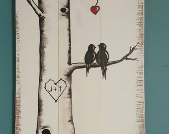 Hand Painted, personalized, love bird pallet art