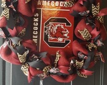 South Carolina Gamecocks Burlap Wreath