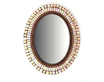 """Oval Mosaic Mirror 14.7"""" Peach Mirror"""