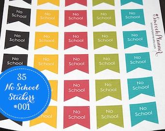 35 No School Planner Stickers | Erin Condren Planner | Filofax | Happy Planner | Plum Paper | #001