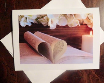 Book Pages Heart. Photo Greeting/Note Card. Blank Inside.