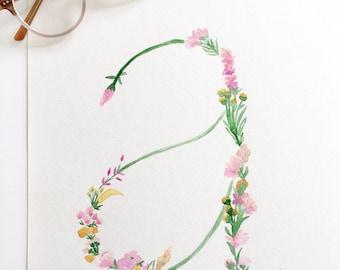 Custom Floral Initial
