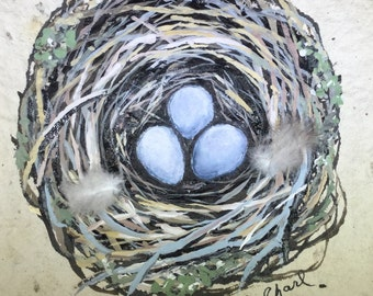 """Original Hand Painted Bird Nest on Hand Made Paper """"Three of a Kind"""""""