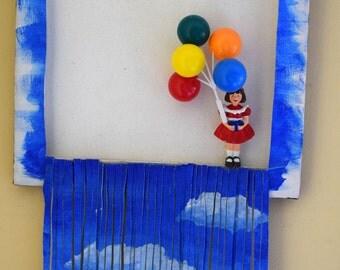 Acrylic kinetic whimsical youthful multimedia painting