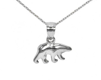 14k White Gold Bear Necklace