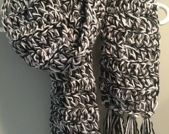 black white and grey crochet scarf