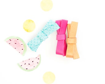 Newborn Baby Bow, Leather Hair Bow, Soft Nylon Headband, Mint, Magenta & Oak Brown Baby Bow, Tiny Little Bow, Petite Bow, Micro Mini Bows