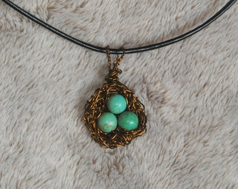 Bronze Bird's Nest with Blue Howlite Eggs