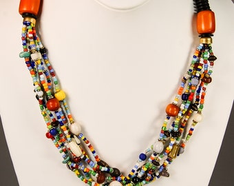 African Maasai Mixed Material Bead Necklace