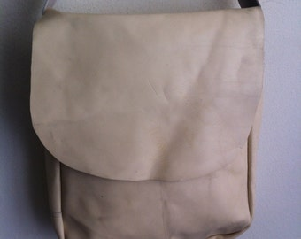 Men's vintage heavy large bag, beige shoulder leather bag .