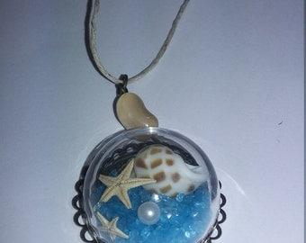 Glass ocean scene necklace