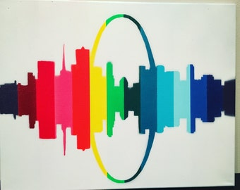 St. Louis Cityscape, Custom Painted Canvas, Wall Art, Rainbow series Hand painted, multi-colored, Canvas Art, Reflective Artwork