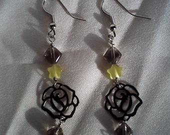 gun metal rose dangle earrings