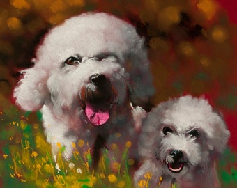 Puppies in the park.Instant download.JPG and TIFF files for printing an original pastel painting.