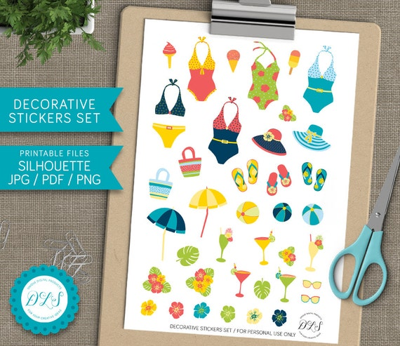 Decorative SUMMER STICKERS Set Pool Party Beach Day Stickers