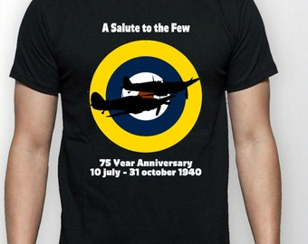 Battle of Britian Anniversary, WW2 T Shirt, featuring Spitfire and Hurricane, Royal Air Force Roundel, dad gift idea, husband gift