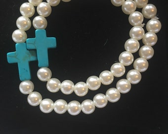 Mommy and me teal cross bracelet