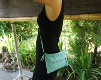 Shipping from Japan! Turquoise colour soft sheep leather + natural dye batik lining shoulder/clutch bag