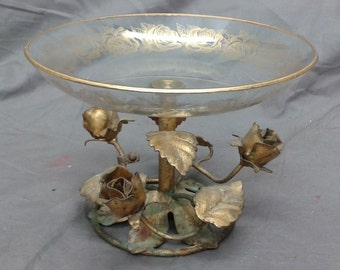 Old Vintage Tin tole hand painted wrought iron compote roses gold gilt serving