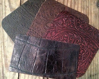"Leather Supplies, Jewelry Supplies,  Embossed Leather, Patches, Scrapbooking,  Sewing Material, Embossed, Embellishments,  4.5""sq, Rustic"