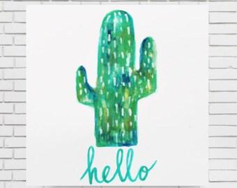 HELLO CACTUS WATERCOLOR - original watercolor cactus print